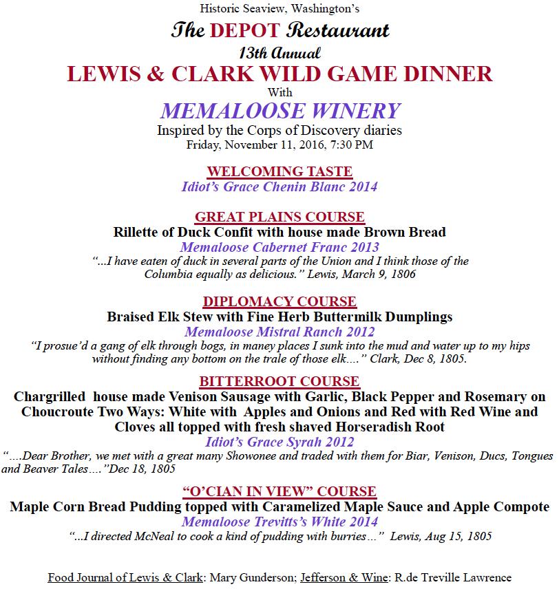 Lewis & Clark Wild Game Dinner 2016