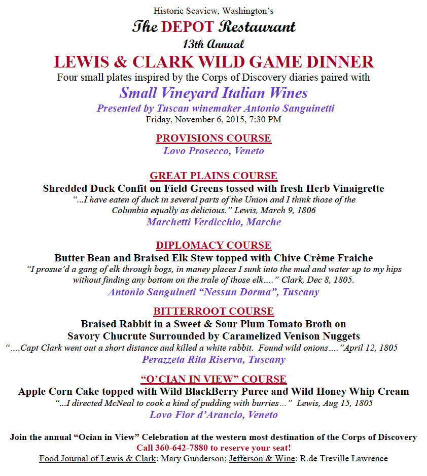 Lewis  Clark wild Game 2015  Menu 12th Annual