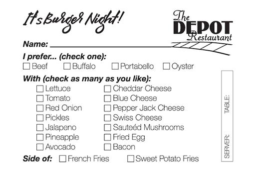 Burger Order Slip