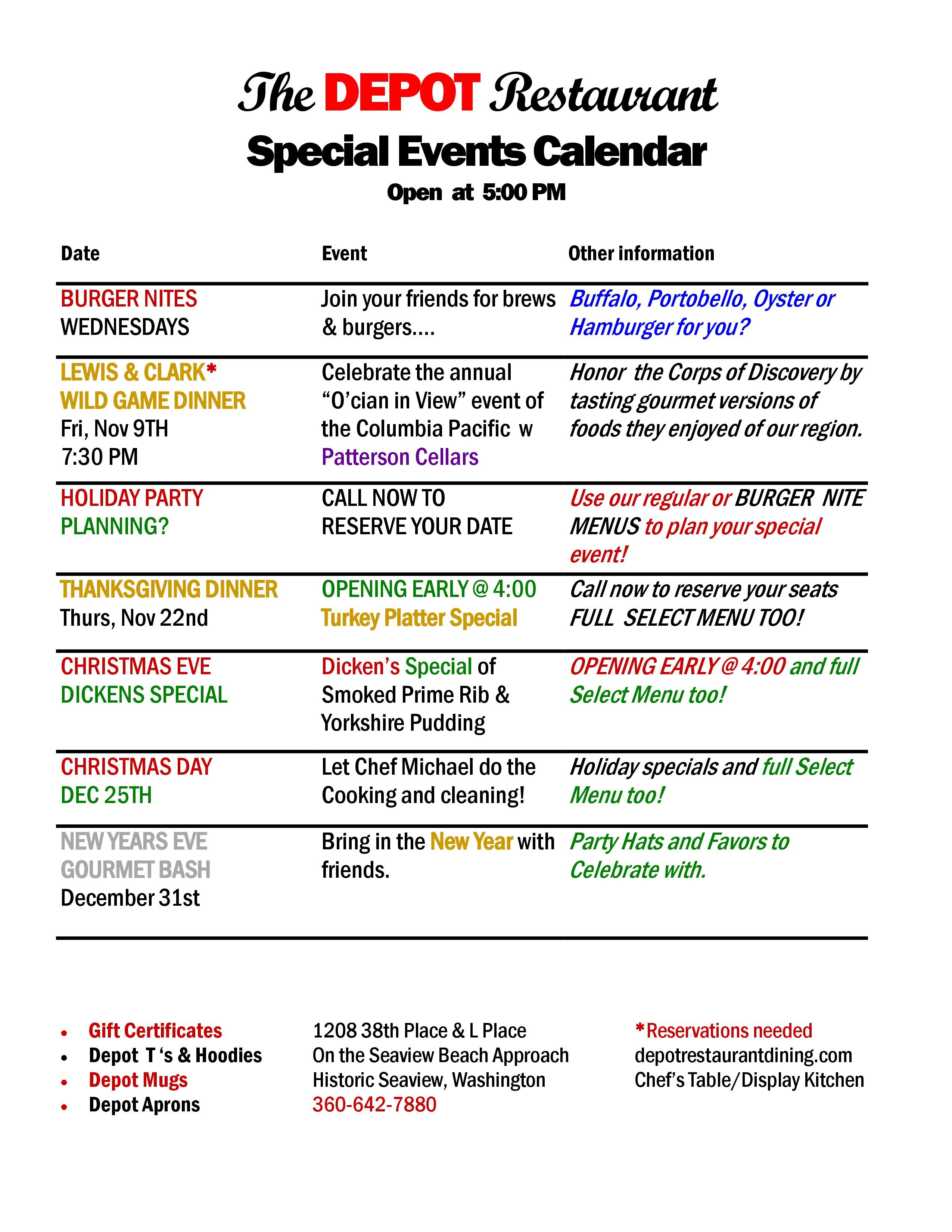 Special Events - The DEPOT RestaurantThe DEPOT Restaurant