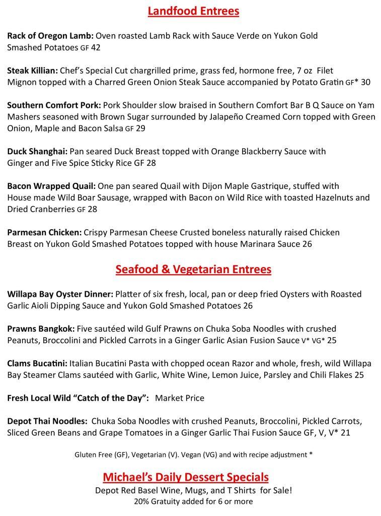 depot restaurant menu