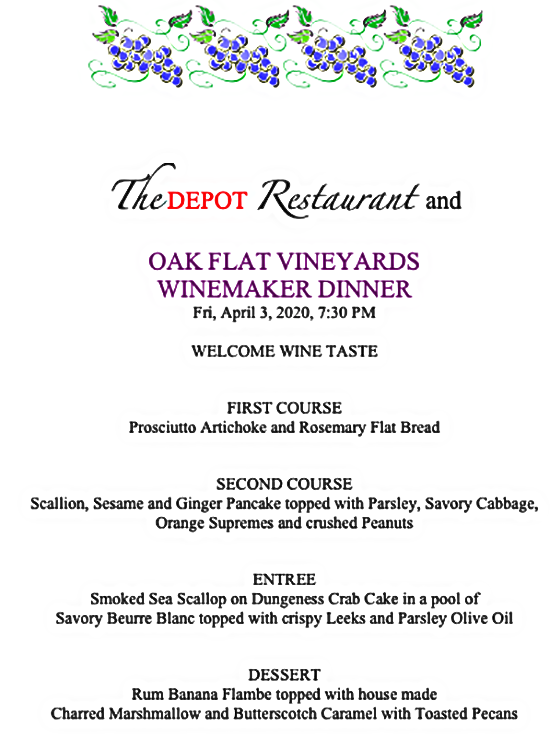 oak flat winemaker dinner april 3, 2020