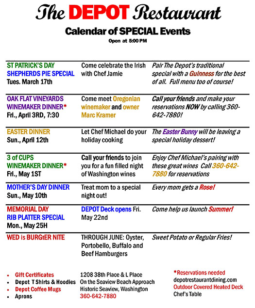 Calendar of Special Events at the DEPOT Restaurant
